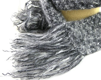Black Pearl Mohair Ribbon Blend Handcrafted Crochet Scarf
