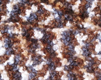 Painted Pony Brown Gray and White Boucle Crochet Scarf
