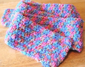 Spring Pastel Boucle Crochet Scarf made with Plymouth wool blend yarn