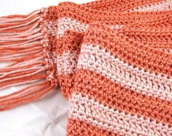 Terracotta ... luxe bamboo and silk crochet striped scarf ... resplendent drape and feel