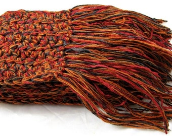 Meet Me In Morocco ... an inspiring rich cotton and wool blend crochet scarf in burnt orange cinnamon and saffron spice