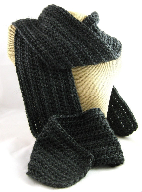Stealth  matte black Alpaca Blend Crochet Scarf ... awesome for men or women