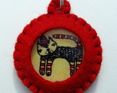 Wool Felt Party Kitty Red Pocket Watch Jewelry Pendant