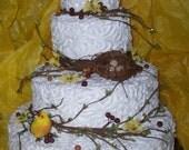 SALE Beautiful Rustic Outdoor Garden Wedding Cake Artificial/ Display Cake