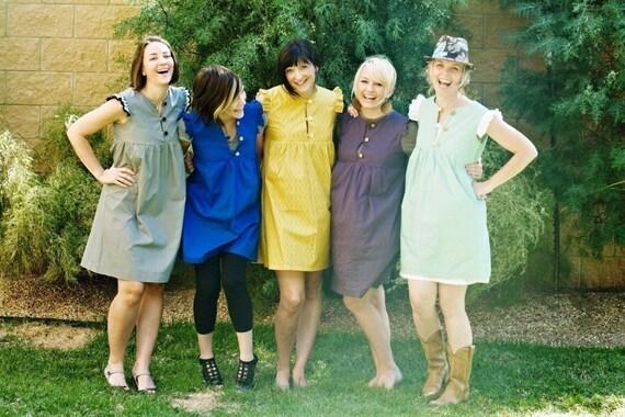Team Spirit Babydoll Dress - empire waist, cobalt blue, honeysuckle, yellow, red, eggplant, black, mint, ruffle sleeve
