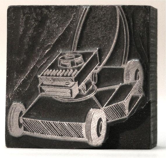 Vintage Metal and Wood Letterpress Block-Lawnmower  RESERVED FOR allisonstandish