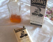 Vintage Sloan's Ointment bottle with paper label and box