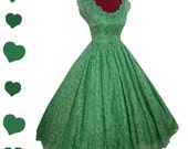 Dress Vintage 50s GREEN Lace Full Skirt Party Prom Dress S Long Gown