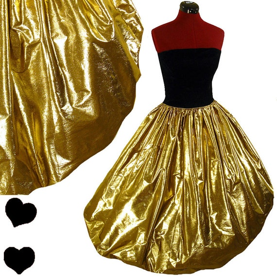 Vintage 80s GOLD Metallic Black Prom PARTY Dress XS S Bubble Glam Strapless Vtg