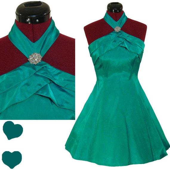 Dress Vintage 80s Teal HALTER Full Skirt Cocktail Party PROM Dress XS Taffeta Mini