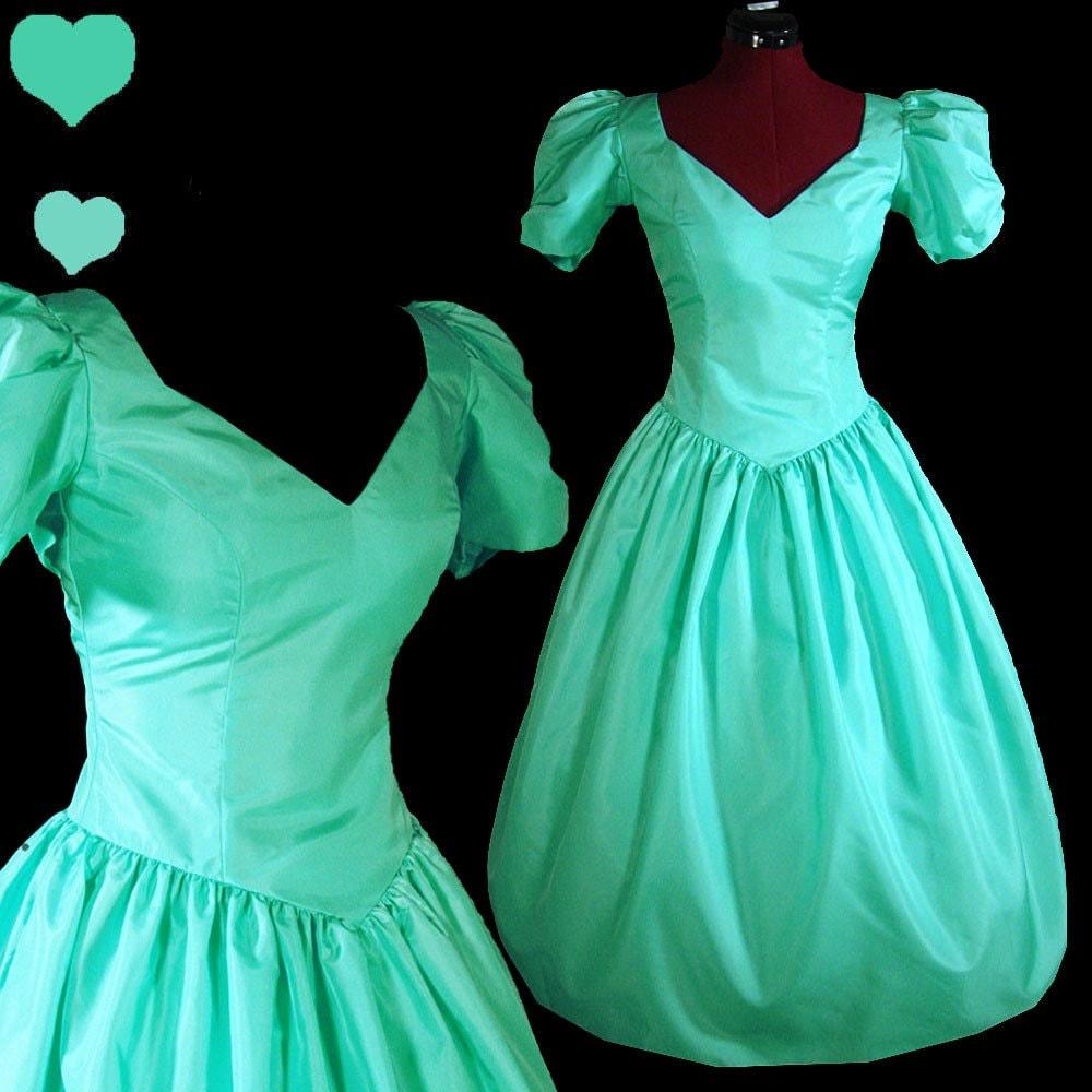Aqua Puff Sleeve Vintage 80s Taffeta Prom Party Dress S