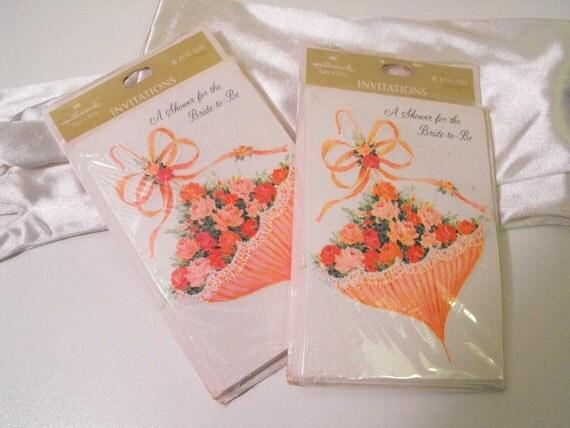 Hallmark Invitations Wedding: Vintage 1960s Hallmark Bridal Shower Invitations By