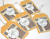 Set of 5 Gift or Note Tags -  Wrapped Present