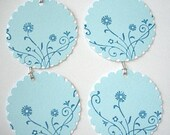Set of 6 Gift of Note Tags - Stamped Floral Twirls and Swirls