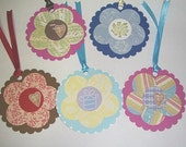 Set of 5 Note or Gift Tags - Flowers Flowers