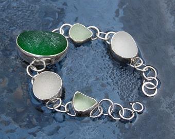 chunky seaglass bezel set bracelet