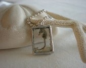 Seahorse  charm - soldered silver and glass, shadow box necklace, beach charm