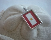 Gold Star Banner soldered glass charm