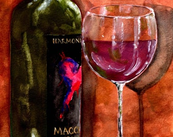 Bottle of Wine Watercolor Print- fine art print, wine bottle, wine glass, still life, painting, red wine, Lodi wine