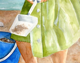 Original watercolor- Girl on Beach, sandcastles, coastal art, seaside, beach fun