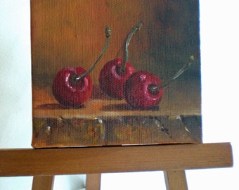 Cherries Still Life - three cherries oil on canvas fine art Original Oil Painting