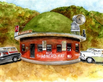 Miner's Hat Drive In - kellogg idaho painting, roadside americana,historic kellogg idaho, roadside cafe,  Original Watercolor Painting