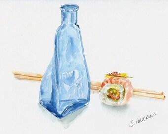 Sake and Sushi Original Watercolor Painting -still life,  sake bottle, sushi roll, chopsticks