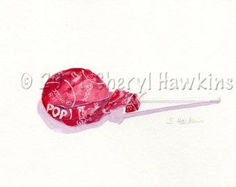 Red Tootsie Pop - Original Watercolor Painting