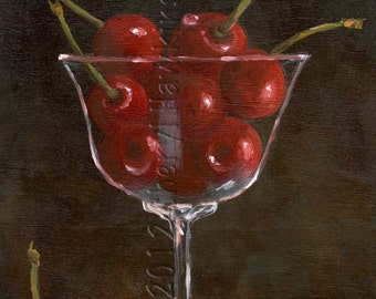 Cherries in Goblet painting- oil painting, cherries in wine glass, still life, oil paint on masonite, Original Oil Painting