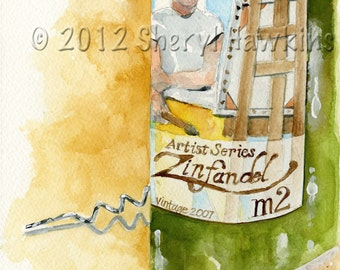 Wine Bottle Still Life Watercolor -painting zinfandel m2 artist series wine label corkscrew