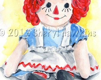 Raggedy Ann Original Watercolor