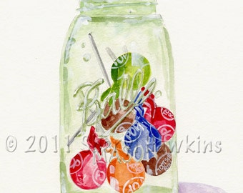 Mason Jar with Tootsie Pops  Watercolor Painting - fine Art Print of  Original Watercolor