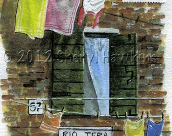 Hanging Laundry  in Venice Italy painting  - Art Print of Original Watercolor