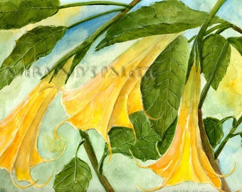 watercolor angel trumpet- yellow brugmansia flower watercolor print