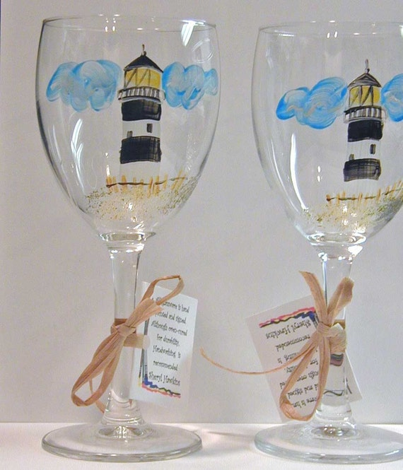 Painted wine glass - Fire Island Lighthouse design