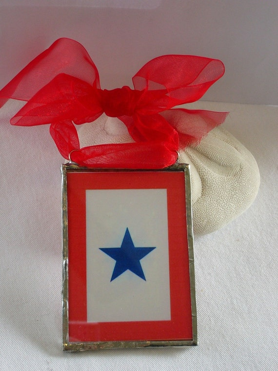 Blue star banner ornament- glass soldered military service flag ornament