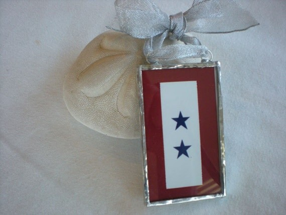 Blue star banner ornament- glass military service flag