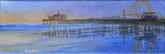 Santa Monica Pier painting - sunset pier carnival pacific ocean