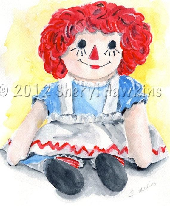 Raggedy Ann Original Watercolor