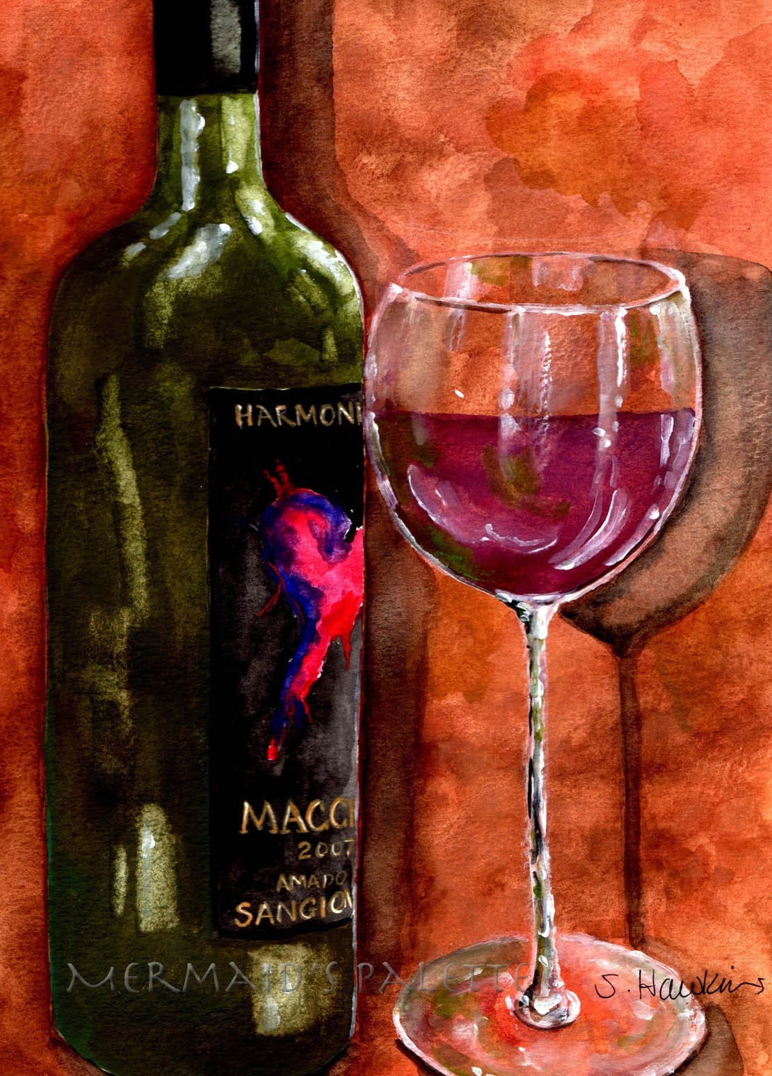 Bottle Of Wine Watercolor Print Fine Art Print Wine Bottle