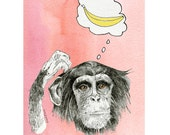 Chimpanzee Art Print, 5x7, Chimp, Banana, Thought Cloud, Red