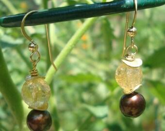 Citrine and Smoky Quartz Dangle Earrings \\ Golden Ganache Dangles   \\  14k gold filled Earrings\\product id: SMKYCITDE