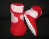Toddler Girls size 2 3 Red and Pink Slippers Booties, Non Slip Sole, Elastic Ankle, Soft Warm Cozy