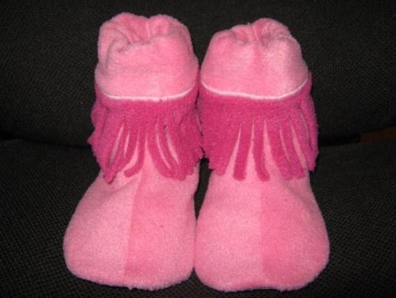 Little Girls size 10 11 12 Handmade Slippers, Non Slip Sole, Elastic Ankle, Soft Warm Cozy