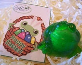 Easter Basket Treat Toy - 1 FIZZING FROG Soap with Easter card tag - Spring Celebration