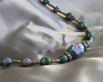 Gold and Green Enamel Beaded Necklace