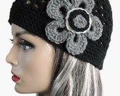 PDF Pattern Ebony and Charcoal Crocheted Hat with Flower - CAN sell finished pieces