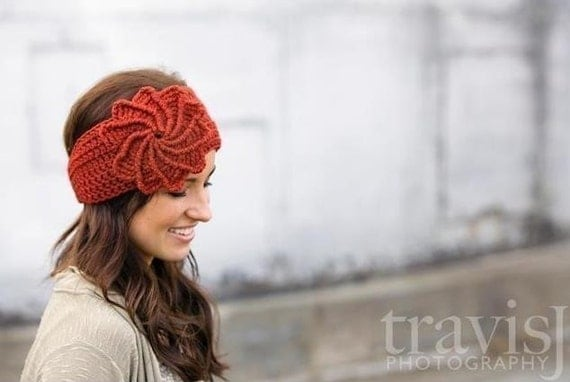 PDF PATTERN Crochet spiral flower headband / earwarmer
