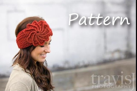 CROCHET PATTERN PDF, Instant Digital Download, Crocheted spiral flower headband / earwarmer / headwrap- CaN Sell Finished pieces