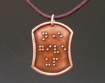 Never Give up Dark Copper Pendant in Braille